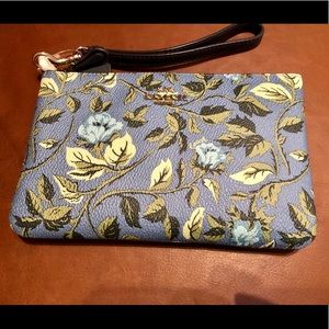 Coach Blue Floral Wristlet (New)